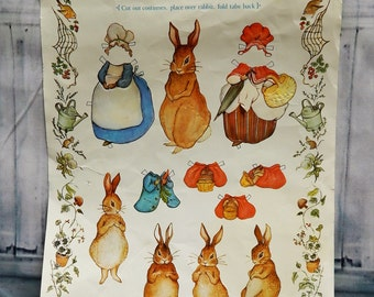 Vintage Beatrix Potter~Embossed Paper Dolls~Cutout~ Dress Up~Play~Peter Rabbit~Vintage