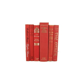 Red   Vintage Books ,  Decorative Books OLd Books Used Books Wedding Decor, Home Decor, and Photography Prop