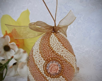 Faberge-like Beaded Egg Ornament Peach Swirl