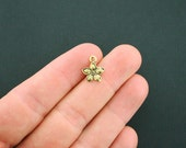 12 Flower Charms Antique Gold Tone 2 Sided - GC822