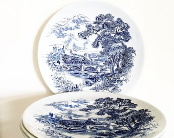 Blue And White Dinner Plates Countryside Pattern Enoch Wedgwood Tunstall Made In England 1960s Transferware Set Of Four Vintage China Plates