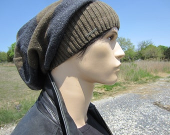 Tam Hat Dreadlock Dread Tams for Men Extra long Slouchy Beanies Brown Gray Striped Cotton Knit A1619