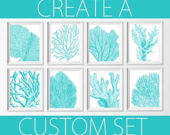 Coral Wall Art , Nautical Coral Turquoise Art , Beach Cottage Decor , Bathroom Beach Art , Bedroom Nautical Wall , Nautical Nursery Art Blue