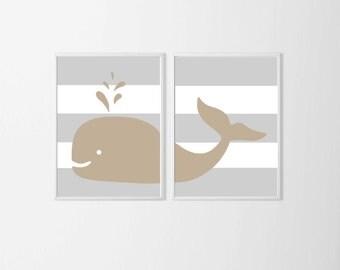 Beach Nursery Art Prints , Whale Nursery Art , Neutral Nursery Art , Beach Nursery Art , Grey Beige Nursery , Nautical Kids Wall Decor