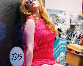 60's PINK SHIFT DRESS vintage bright pink Woven Silk shift dress retro sleeveless mod mad men wiggle dress 50's 60's size small s