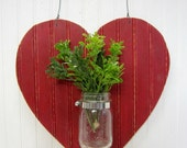 Red Heart Shaped Bead Board Mason Jar Wall Vase Valentine Decor Wreath Alternative