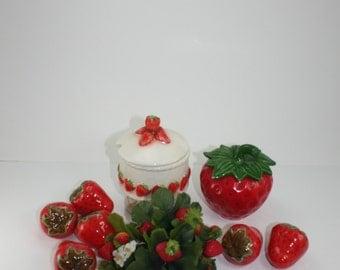 Vintage Strawberry Jelly Jam Jar Canister Trinket Storage And Ceramic Decor Strawberries Lefton Farmhouse Decor Japan