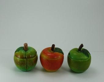 Vintage Fruit Jelly Jam Jar Canister Trinket Storage Ceramic Hand Crafted Sere-Well Japan Set Of 3 Farmhouse Decor