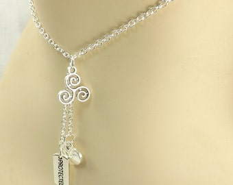Triskelion Jewelry, protected and heart charm necklace Bdsm Necklace with Protected Charm mature Submissive Jewelry