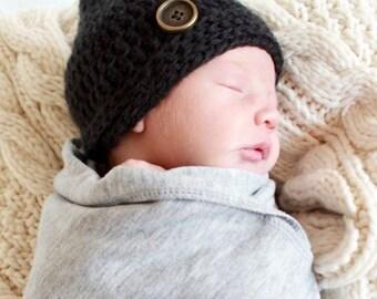 Baby Boy Hat  - Baby Boy Photo Prop Hat - Hipster Boy Hat - Baby Shower Gift -  by JojosBootique