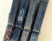 EMBROIDERED BLUE JEANS hand painted magnetic clothespins faded jeans peace sign love