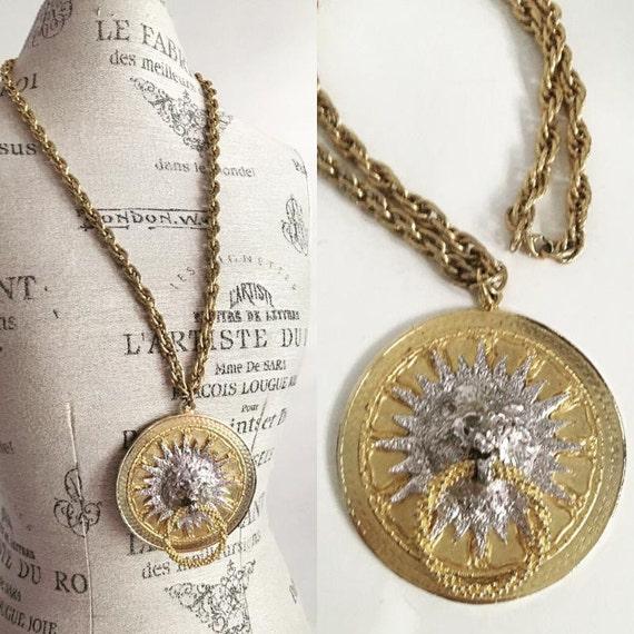 ViNtaGe Kenneth Jay Lane HUGE LION Door Knocker Medallian Necklace Gold Silver Pendant KJL Chain 70's Disco Statement