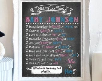 Baby Shower Chalkboard Sign - Old Wives Tales Gender Reveal - Gender Reveal Board - Printable