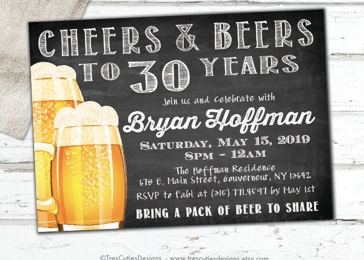 Beer invitation – Male 30th Birthday Invitations