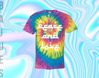 BAJUES Peace and Love Rainbow Tie dye T-shirt