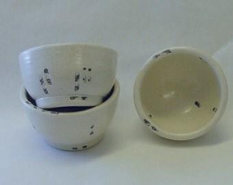 Three Typewriter Key Sauce or Prep Bowls.  Or saki cups.