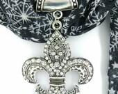 Fleur de Lis Scarf Jewelry ~ Crystal Rhinestone Pendant ~ Scarf Accessory~ Scarf Charm ~ Scarf Slide