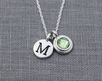Personalized Initial Necklace, Birthstone Initial Jewelry, Peridot, Personalized Mother Necklace, Grandma Birthstone Necklace