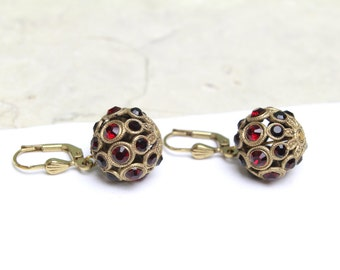 Faberge Style Ball Earrings with Swarovski Crystals in Red and Black