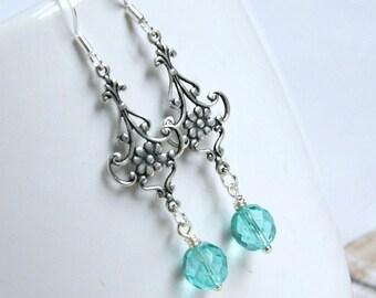 cecelia silver and aqua chandelier earrings, silver, aqua, ornate, gifts, women