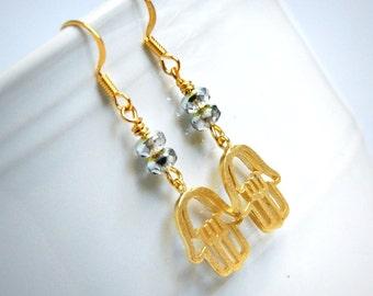 hamsa drop earrings, dangle, beaded earrings, silver gold, yoga, bohemian jewelry