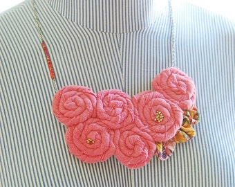 Rosette Beaded Flower Necklace - Pink and Gold - Eco Friendly