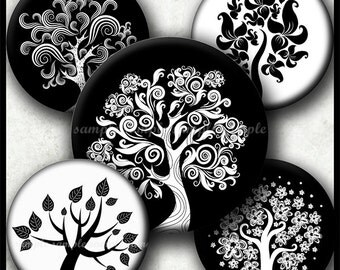 INSTANT DOWNLOAD Black & White Trees (778) 4x6 Bottle Cap Images 1 inch Printable Digital Collage Sheet hair bows glass tile cabochon images
