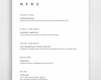 Menu, Wedding Menu Template, Bar Menu, Menu Template, Editable Menu, Wedding Menu, Modern Menu, Minimalist Menu, Menu Wedding
