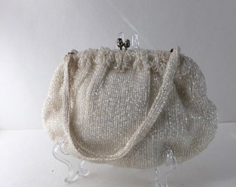 Glass Bead Clutch, Iridescent Beaded Purse, Julius Garfinckel & Co Washington, Wedding Evening Bag, Vintage Handbag