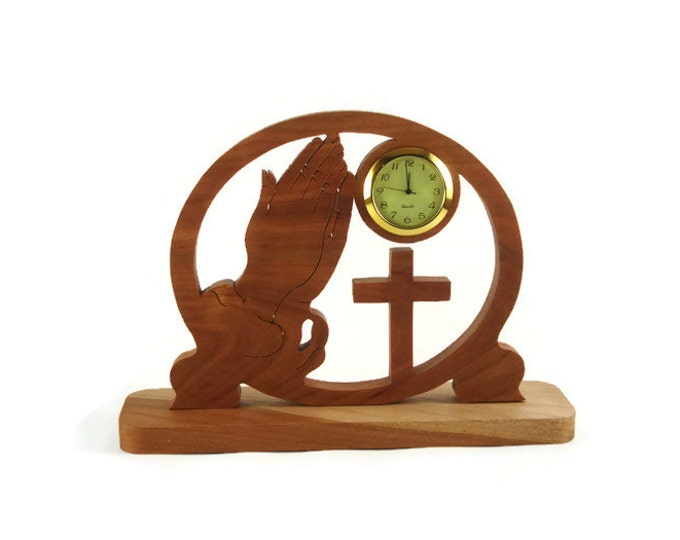 Praying Hands and Cross Desk Clock Handmade From Cherry Wood By KevsKrafts Woodworking