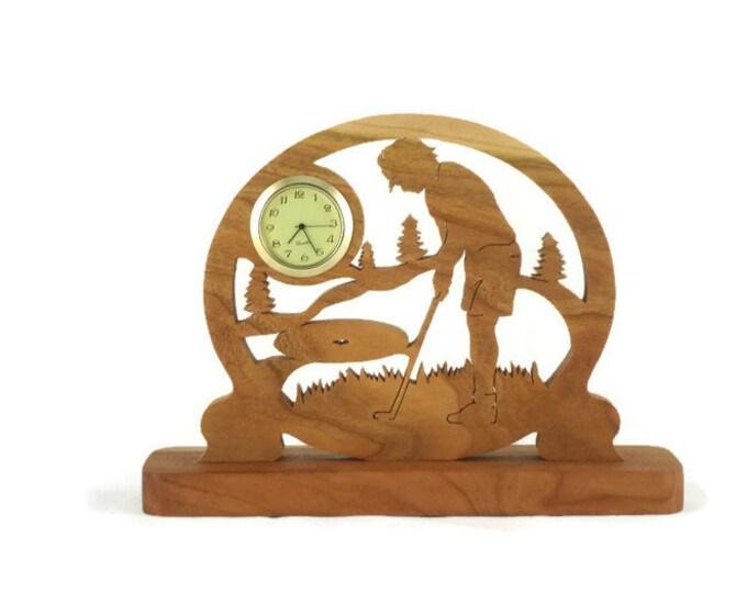 Female Golf Scene Desk Clock Handmade From Cherry Wood, Golfing Clock, Golfer Clock, Desk Clock