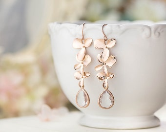 Bridal Earrings Rose Gold Earrings Clear Crystal Earrings Bridesmaid Earrings Wedding Jewelry Orchid Flower Long Dangle Earrings