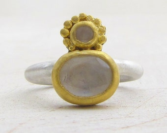 Moonstone Ring - 24 Karat Gold Ring - Ethnic Moonstone Ring - Statement Ring