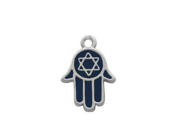 Silver Plated, Blue Enamel  Star Of David Hamsa Hand , Charm Qty.1