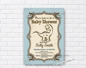 Dinosaur baby shower Invitation baby boy shower baby invitation Vintage theme boy toy party Invitation - card 259