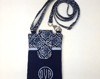 Monogrammed Fabric Cell Phone Case, Smart Phone Cross Body Bag, Personalized Mother's Day Gift, Fabric Cell Phone Pouch