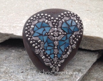 Denim Blue Angel Wing Heart, Paperweight, Garden Stone, Mosaic, Garden Decor