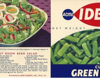 Acme Ideal Green Beans Vintage Can Label, 1950s