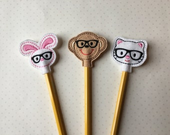 Nerdy Critters Pencil Toppers