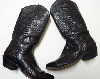 Dan Post Lizard Cowboy Boots  black cherry exotic skin ladies western shoes
