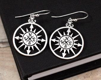 Compass Rose Earrings | Compass Earrings | Silver Compass Rose Earrings | Nautical Earrings | Talisman Earrings | Symbolic Earrings