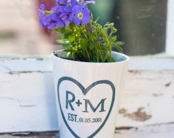 Personalised Couples Plant Pot | Handprinted Ceramic Mug | Anniversary Gift | Flower Pot | Garden Decor | Gift | For Her | For Him
