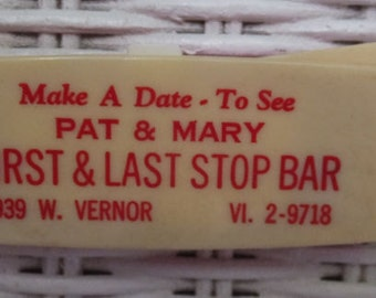 Vintage Pat and Mary First Last Stop Bar Detroit MI Coin Holder Perpetual Calendar Key Chain