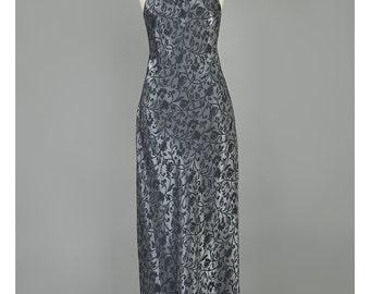 Vintage 90s Maxi Dress Metallic Dress Charcoal Grey Black Damask Floral Dress Halter Neck Mermaid Fishtail Grunge Goth 1990s Party Dress (M)