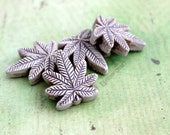 4pc Cannabis Leaf Ceramic Beads, Natural Jewelry Supplies, 22mm