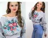 Vintage Cropped Sweatshirt Distress Painted Cabagge Roses Lace  // Vintage Clothing by TatiTati Style on Etsy