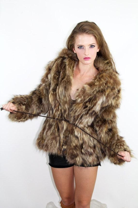FOX Coat Jacket Vintage 70's Fur Coat Jacques Saint Laurent // Vintage Clothes TatiTati Style on Etsy