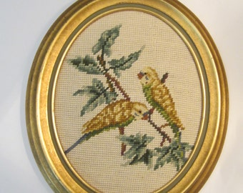 Framed Parakeet Needlepoint with Petit Point Faces - Yellow Budgies in Golden Oval Frame - Bird Lover Wall Art