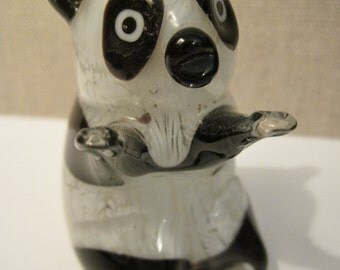 Hand Blown Art Glass Panda - Black and White and Cute All Over