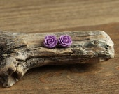 Purple (15) 13mm Dainty Resin Rose Cabochons CF1027